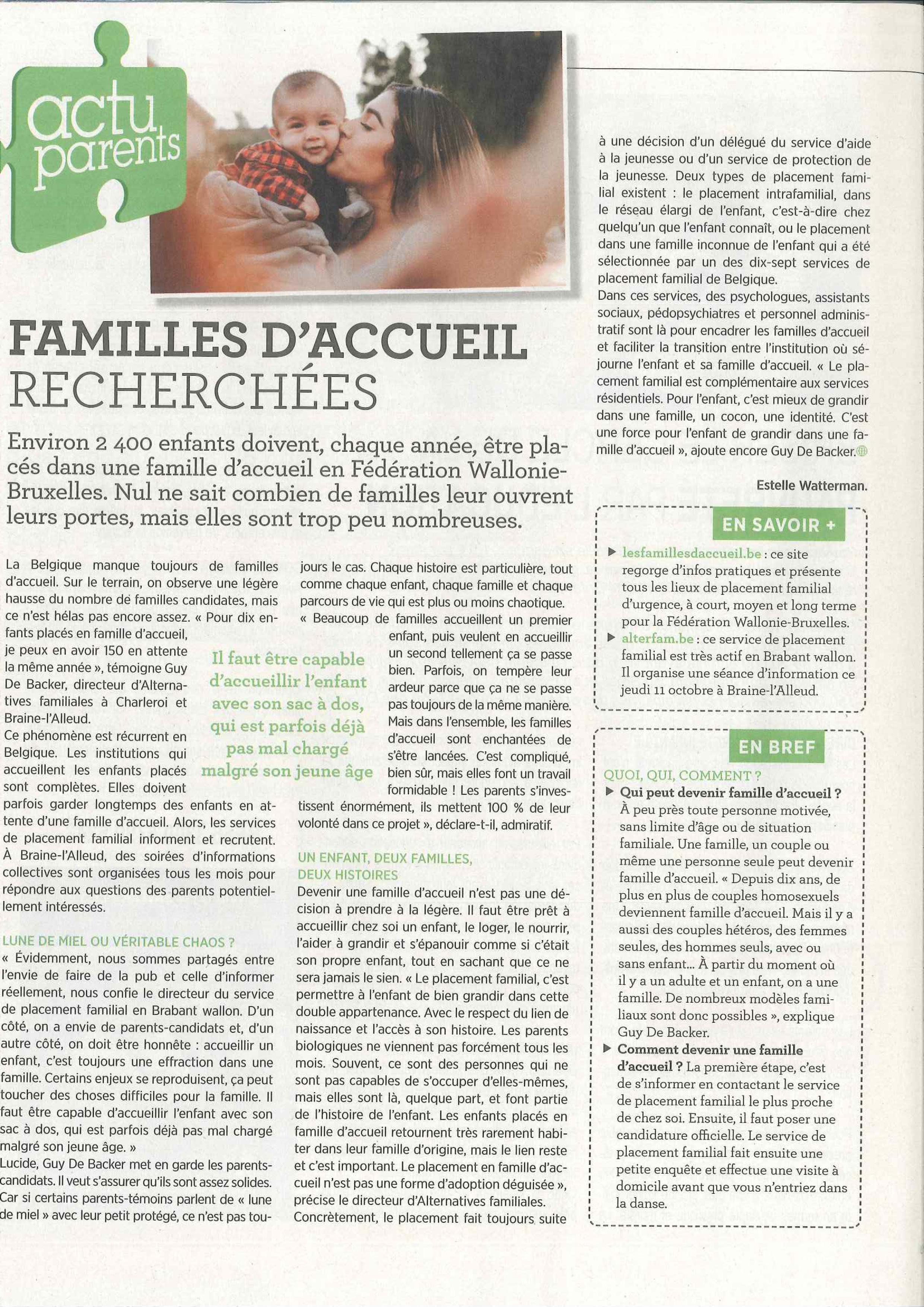 Article sur les familles d'accueil paru dans le ligueur du 10/10/2018